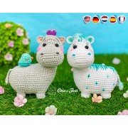 Halia the Hippo - Quad Squad Series Amigurumi Crochet Pattern - English, Dutch, German, Spanish, French