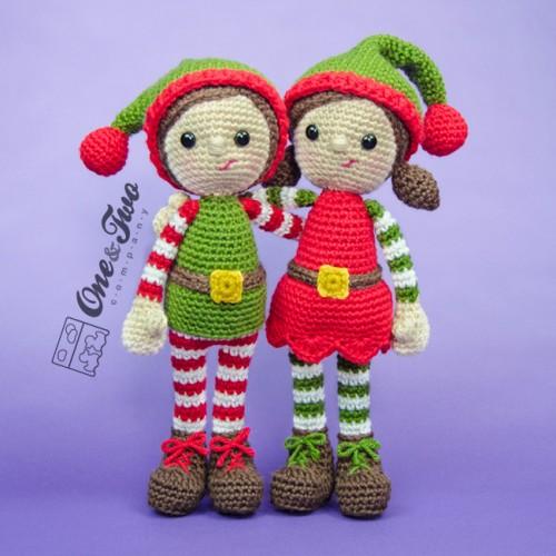 Tiny Crochet Doll Patterns : Jingle and Belle Santas Helper Lovey and Amigurumi ...