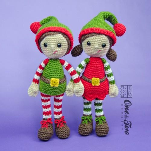 Tiny Crochet Doll Patterns : Jingle and Belle Santas Helper Amigurumi Crochet Pattern