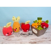 "Alice, Oliver and Perry the Fruit Friends ""Kawaii Friends Series"" Amigurumi Crochet Pattern"