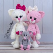 Kissie the Kitty and Skip the Little Mouse Amigurumi Crochet Pattern