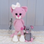 Kissie the Kitty (Pink version) and Skip the Little Mouse amigurumi - Finished Items