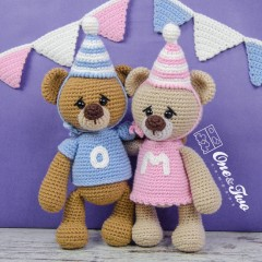 Mia and Owen the Birthday Bears Amigurumi Crochet Pattern