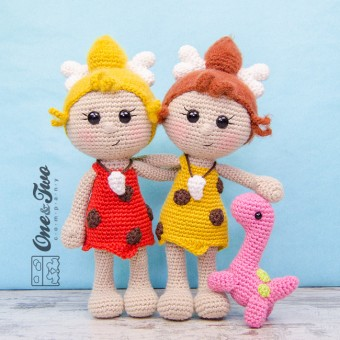 Cyra the Cavegirl and Dixie the Dino Amigurumi Crochet Pattern
