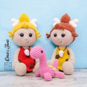 Cyra the Cavegirl and Dixie the Dino Lovey and Amigurumi Crochet Patterns Pack