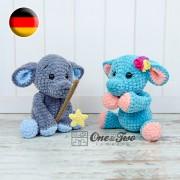 Enzo the Tiny Elephant Amigurumi Crochet Pattern - German Version