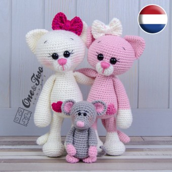 Kissie the Kitty and Skip the Little Mouse Amigurumi Crochet Pattern - Dutch Version