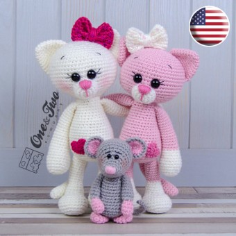 Kissie the Kitty and Skip the Little Mouse Amigurumi Crochet Pattern - English Version