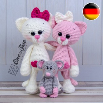 Kissie the Kitty and Skip the Little Mouse Amigurumi Crochet Pattern - German Version