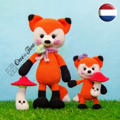 Felicity and Fiona the Little Fox Family Amigurumi Crochet Pattern - Dutch Version