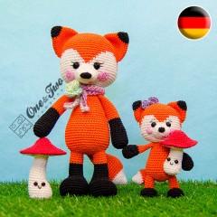 Felicity and Fiona the Little Fox Family Amigurumi Crochet Pattern - German Version
