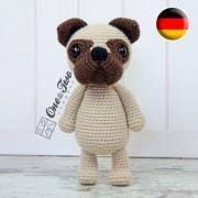 Hiro the Pug Amigurumi Crochet Pattern - German Version