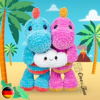 Dusty the Dino and the Tiny Cloud Amigurumi Crochet Pattern - German Version