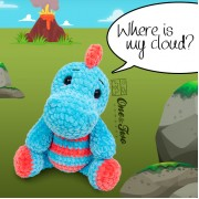 Dusty the Dino and the Tiny Cloud Amigurumi Crochet Pattern - English, Dutch, German