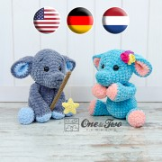 Enzo the Tiny Elephant Amigurumi Crochet Pattern - English, Dutch, German