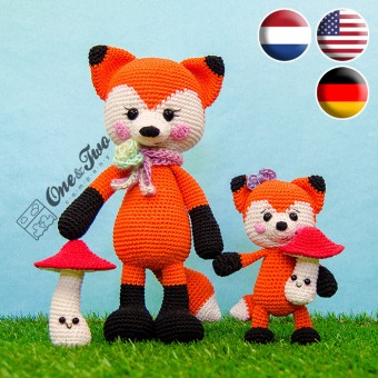 Felicity and Fiona the Little Fox Family Amigurumi Crochet Pattern - English, Dutch, German