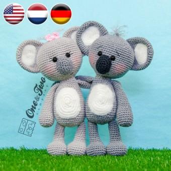 Kira the Koala Amigurumi Crochet Pattern - English, Dutch, German