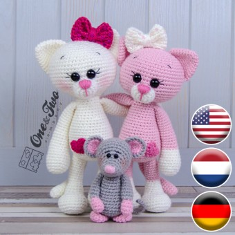 Kissie the Kitty and Skip the Little Mouse Amigurumi Crochet Pattern - English, Dutch, German
