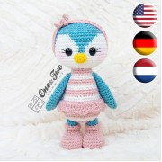 Priscilla the Sweet Penguin Amigurumi Crochet Pattern - English, Dutch, German