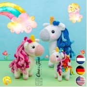 Sunny the Unicorn - Quad Squad Series Amigurumi Crochet Pattern - English, Dutch, German