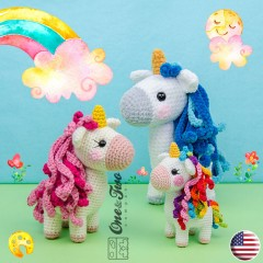 Sunny the Unicorn - Quad Squad Series Amigurumi Crochet Pattern - English Version
