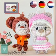 Teddy Bear and Monkey Pocket Pals Amigurumi Crochet Pattern - English, Dutch, German
