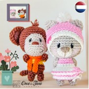 Teddy Bear and Monkey Pocket Pals Amigurumi Crochet Pattern - Dutch Version