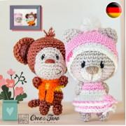 Teddy Bear and Monkey Pocket Pals Amigurumi Crochet Pattern - German Version