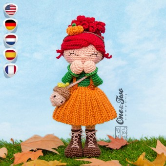 Abby the Autumn Dolly Amigurumi Crochet Pattern - English, Dutch, German, Spanish, French