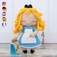 Alice in Wonderland Amigurumi Crochet Pattern - English, Dutch, German, Spanish, French