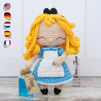 Alice in Wonderland Amigurumi Crochet Pattern - English, Dutch, German, Spanish, French