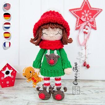 Ginger the Christmas Dolly Amigurumi Crochet Pattern - English, Dutch, German, Spanish, French