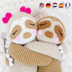 Stella the Sloth Amigurumi Crochet Pattern - English, Dutch, German, Spanish, French