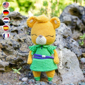 Sunni the Gummi Bear Amigurumi Crochet Pattern - English, Dutch, German, Spanish, French