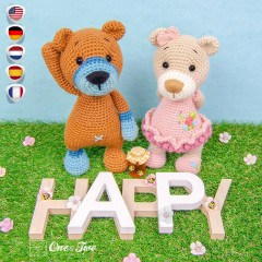 Lia and Brooklyn the Honey Bear Cubs Amigurumi Crochet Pattern - English, Dutch, German, Spanish, French