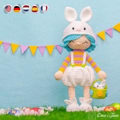 Hop the Bunny Dolly Amigurumi Crochet Pattern - English, Dutch, German, Spanish, French