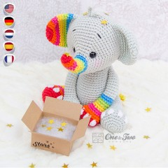 Hue the Rainbow Elephant Amigurumi Crochet Pattern - English, Dutch, German, Spanish, French
