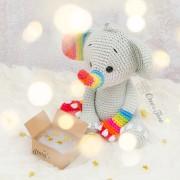 Hue the Rainbow Elephant Amigurumi Crochet Pattern - English, Dutch, German, Spanish, French