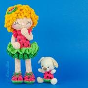 Summer the Watermelon Dolly Amigurumi Crochet Pattern - English, Dutch, German, Spanish, French