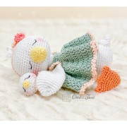 Delia the Sleeping Duck Amigurumi Crochet Pattern - English, Dutch, German, Spanish, French