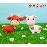 Penelope the Cow - Quad Squad Series Amigurumi Crochet Pattern - English, Dutch, German, Spanish, French