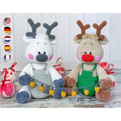 Rin the Christmas Glow Reindeer Amigurumi Crochet Pattern - English, Dutch, German, Spanish, French