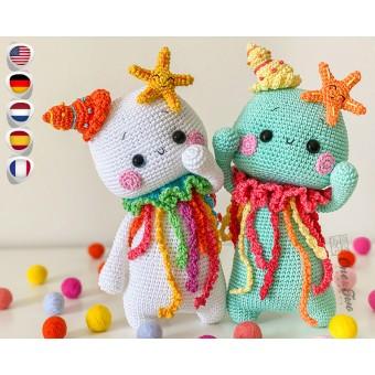 "Ellis the Jellyfish ""Spirits of Nature Series"" Amigurumi Crochet Pattern - English, Dutch, German, Spanish, French"