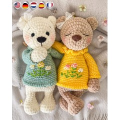 Sugar the Bear Amigurumi Crochet Pattern - English, Dutch, German, Spanish, French