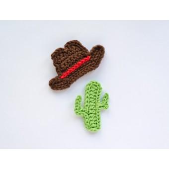 Cowboy Hat and Cactus Applique Crochet