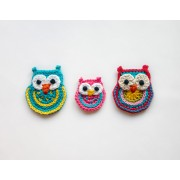 Big Owl, Small Owl and Colorful Owl Applique Crochet