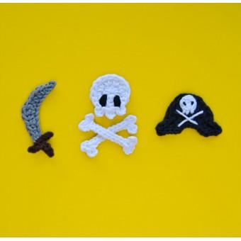 Pirate Skull, Sword and Hat  Applique Crochet