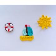 Sailboat, Life Preserver and Sun Applique Crochet