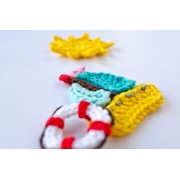 Sailboat, Life Preserver and Sun Applique Crochet