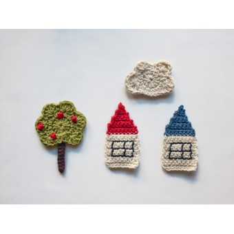 The Tree, the Houses and the Cloud Applique Crochet
